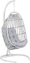 Beliani - Silla colgante de ratán gris claro con
