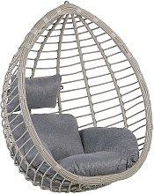 Beliani - Silla colgante de ratán gris TOLLO