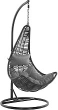 Beliani - Silla colgante de ratán negra con
