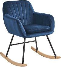 Beliani - Silla mecedora en terciopelo azul
