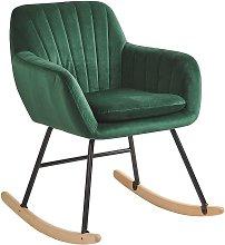 Beliani - Silla mecedora en terciopelo verde