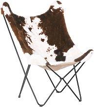 Beliani - Silla tapizada marrón/blanco NYBRO