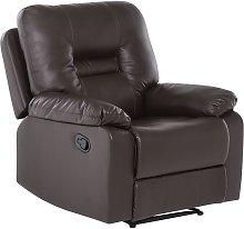 Beliani - Sillón reclinable en piel marrón BERGEN