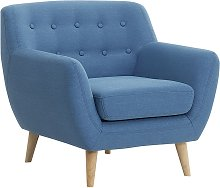 Beliani - Sillón tapizado azul MOTALA