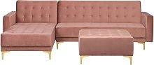 Beliani - Sofá cama esquinero en terciopelo rosa