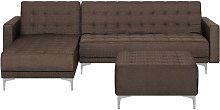 Beliani - Sofá cama esquinero tapizado marrón