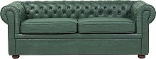 Beliani - Sofá de piel sintética verde