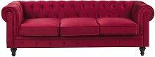 Beliani - Sofá de terciopelo rojo CHESTERFIELD