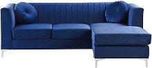 Beliani - Sofá esquinero de terciopelo azul