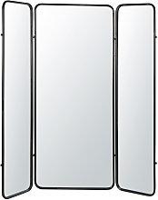 Biombo con espejo de metal negro