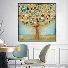 BLLXMX Pintura al óleo de árbol de Color