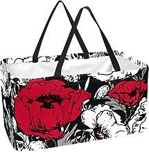 Bolsa De La Compra Flor Blanca Roja Cesta De La
