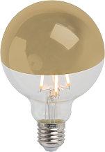 Bombilla E27 LED filamento cúpula espejo oro
