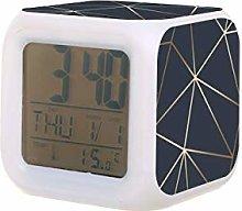 Brillo metálico de oro azul marino LED reloj