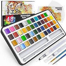 Buluri Caja de acuarelas,48 colores juego de