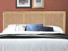 Cabecero de cama con respaldo de rejilla de ratán