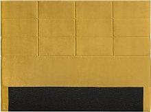 Cabecero moderno en terciopelo amarillo mostaza