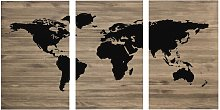 Cabecero tríptico envejecido mapamundi 180x80cm