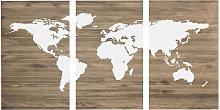 Cabecero tríptico envejecido mapamundi blanco