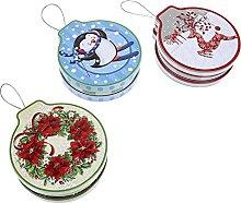 Cabilock 3 Piezas de Hojalata de Navidad Caja de