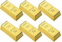 Cabilock 6 unidades de lingote de oro de plástico