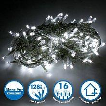 Cadena de luz de 8 metros 128 LED - Blanco puro