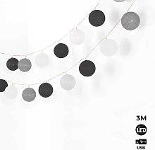 Cadena luminosa LED 20 Bolas de algodón con USB