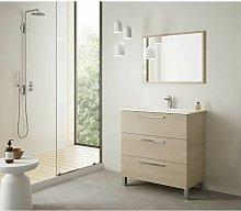 Caesaroo - Mueble de baño 3 cajones 80 cm Roble