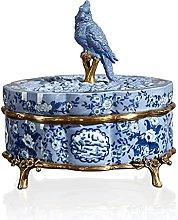 Caja De Joyería De Pájaros De Cerámica, Trinket