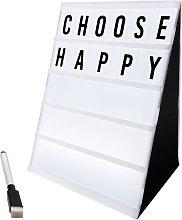 Caja de luz con el cine y letras borrable acuosa