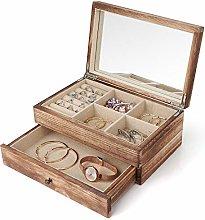 Caja organizadora de joyas de dos capas, joyero
