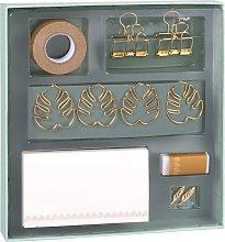 Caja papelería azul pato y dorado