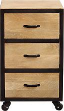 Cajonera de escritorio industrial madera maciza