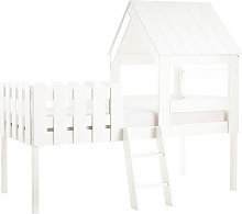 Cama cabaña infantil con somier de madera blanca