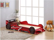 Cama coche FORMULE 1 - 90x190 cm - MDF rojo - LEDs