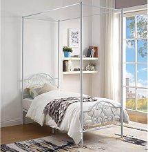 Cama con dosel LEYNA - 90 x 190 cm - Metal - Blanco