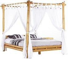Cama con dosel y cortina MALINDI - 160x200 cm -