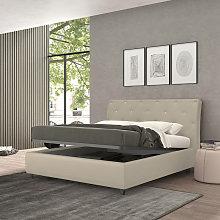 cama de matrimonio con contenedor Strauss, cuero