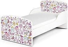 Cama infantil con colchón cómodo 140/70. Motivo: