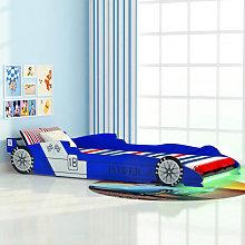 Cama infantil con forma de coche carreras y LED