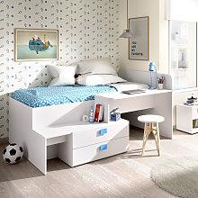 Cama juvenil compacta con escritorio y almacenaje