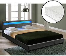 Cama moderna de tela, LED - cama de matrimonio