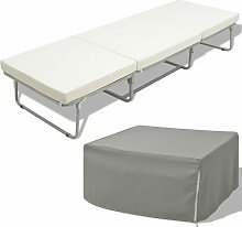 Cama/taburete plegable con colchón acero blanco