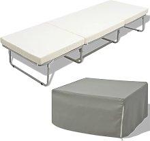 Cama/taburete plegable con colchon acero blanco