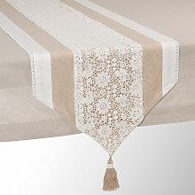 Camino de mesa de algodón beige L 150 cm