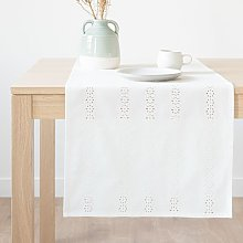 Camino de mesa de algodón bordado color crudo