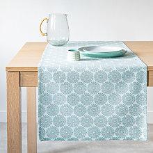 Camino de mesa de algodón color azul y blanco 45