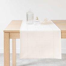 Camino de mesa de algodón color crudo y dorado 40