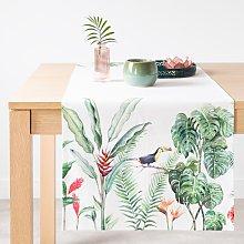 Camino de mesa de algodón con estampado tropical