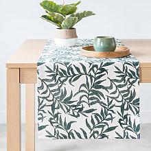 Camino de mesa de algodón con estampado vegetal